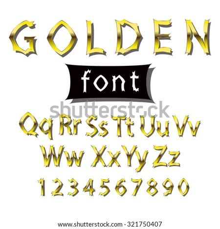 Vector golden font. Collection of alphabet symbols and figures. - stock vector