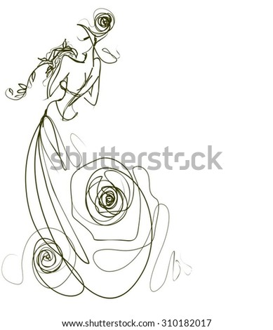 VECTOR    graphic with beautiful young   girl model for design. Fashion, style, youth,   beauty,  . Graphic, sketch drawing. Sexy woman.  groom, bride,   clothes,  dress. rose - stock vector