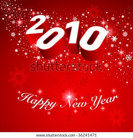 2010 vector greeting card. Editable. No mesh. - stock vector