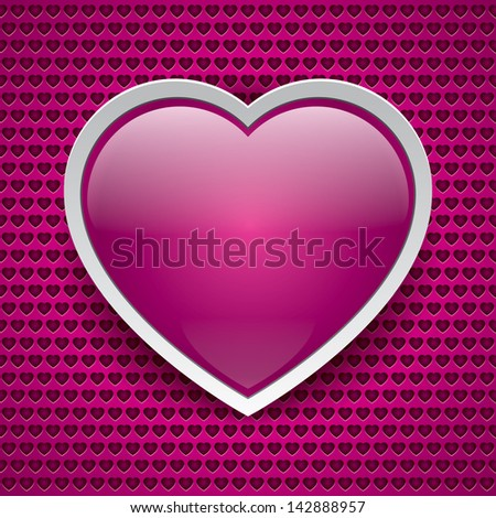 Vector heart button, love texture, pink background, holey surface, valentine card - stock vector