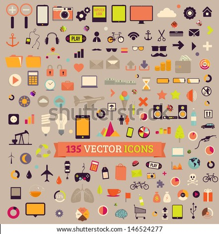 135 vector icons. Big set. Traveling, Business, Economy, Web, Internet, Ecology, Market, Phones, Tablet computers, Music, Gadgets vintage colors icons. - stock vector