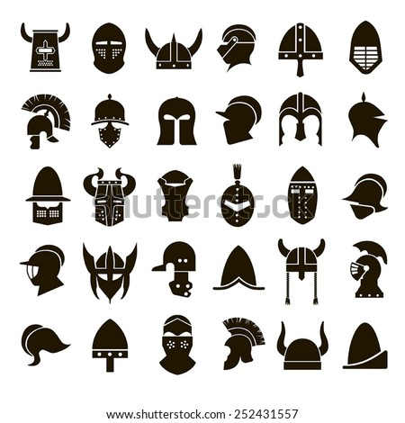30 vector icons of black helmets of ancient warriors on a white background - stock vector