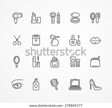 Vector illustration beauty outline icon set. black and white.  - stock vector