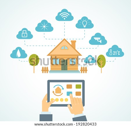 vector illustration concept of smart house technology system with centralized control - stock vector