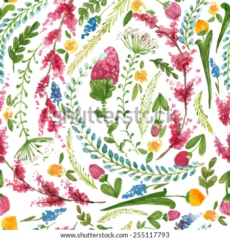 Vector illustration for textile and different occasions. Cute summer and spring background. Floral pattern with watercolor flowers on the white background. Isolated pink herbs - stock vector