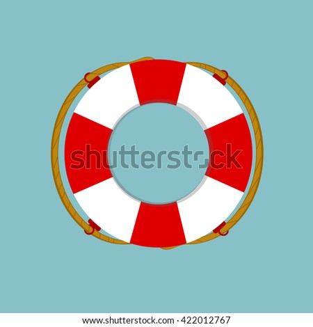 Vector illustration lifebuoy isolated on blue background. Life ring, life preserver, life buoy icon flat design - stock vector