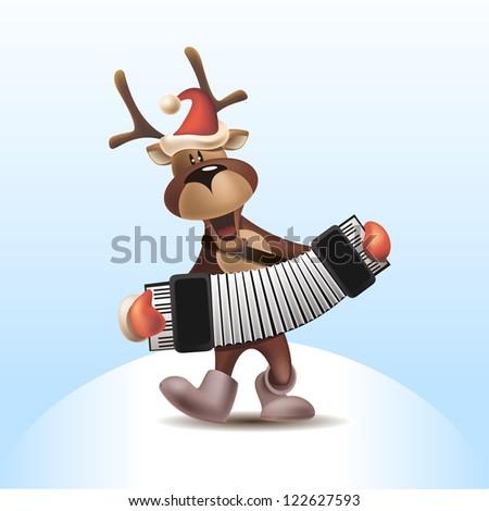 2016 Vector Illustration of Deer with Harmonica - stock vector