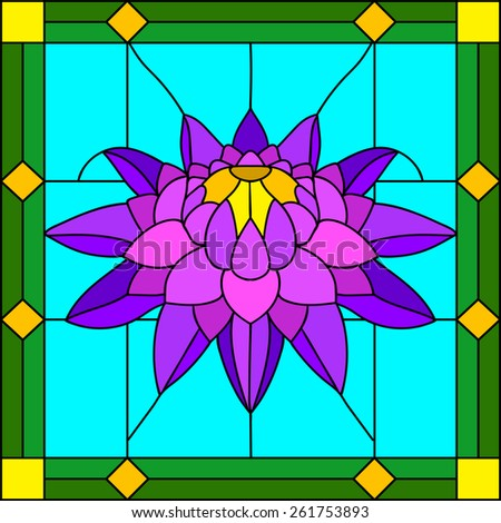 Vector illustration of flower purple chrysanthemum in Stained glass window - stock vector