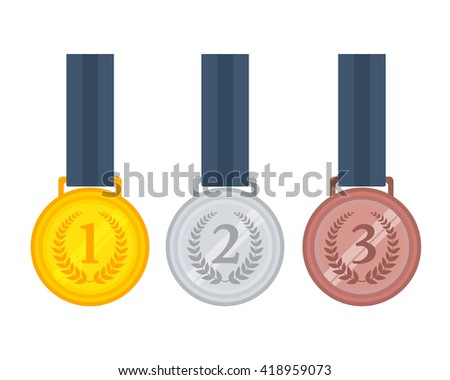 Vector illustration of gold, silver and bronze medals on ribbons.  - stock vector