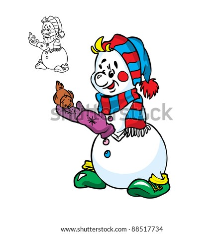 Vector Illustration of Happy snowman and a little bird in color and outline; isolated on background. - stock vector