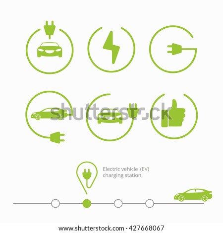 Vector illustration pin point place charging station for electric car. Icons electric vehicle charging station. Isolated electric car with cable, finger up, start charging, power place. Electric car. - stock vector