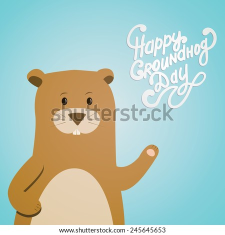 Vector illustration with groundhog and text. Happy Groundhog Day Theme. - stock vector