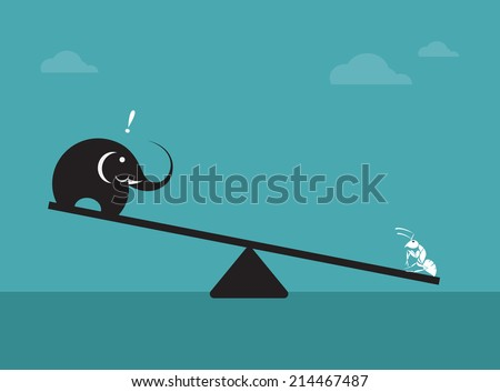 Vector image of an elephant and ant. Weighing concept  - stock vector