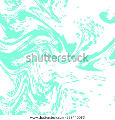 vector Ink texture. Hand drawn marbling illustration technique. Watercolor stains.white, green, emerald - stock vector