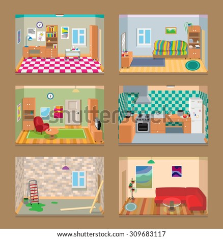 6 vector isometric rooms set - stock vector