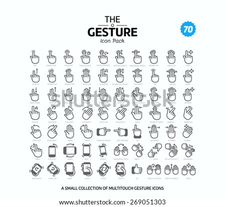 70 Vector line icons set for web design and user interface in applications made in flat graphic style. Nice detail and easily identifiable. Ideal for clean design. - stock vector