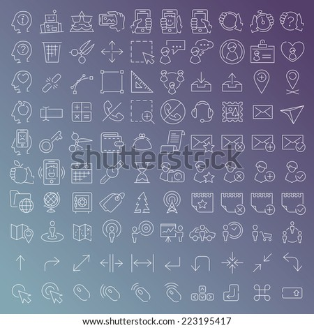 100 vector line icons set for web design and user interface in flat graphic style. More lighter lines then ever, nice detail and easily identifiable. - stock vector