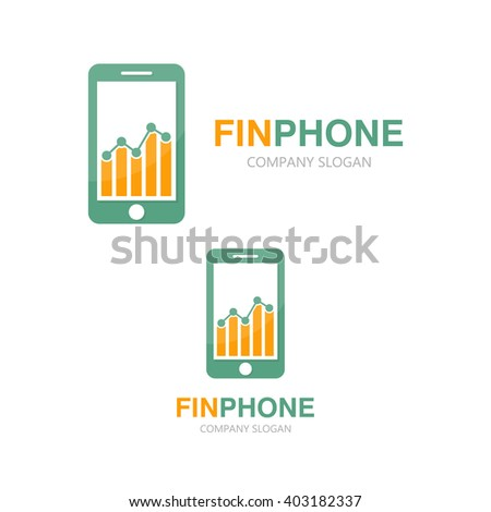 Vector logo combination of a graph and phone - stock vector