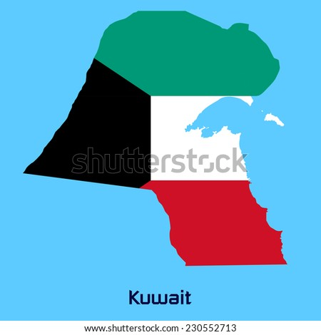 Kuwait Map Vector Vector Map of Kuwait With Flag