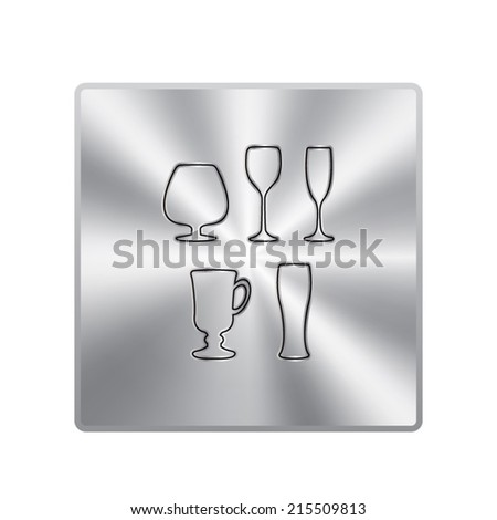 Vector metal button with Glass set or collection - stock vector