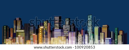 Vector of night city skyline, without gradients and transparency. - stock vector