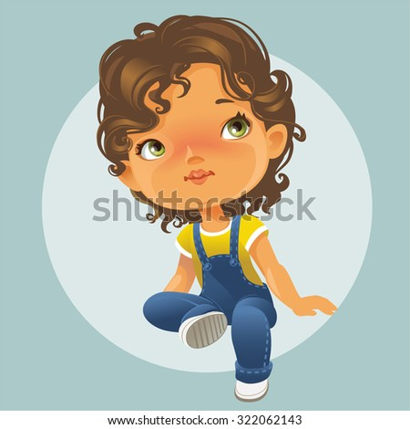 Vector portrait of cute little girl sitting looking up.  Schoolgirl with brown curly hair wearing blue jeans jumpsuit. Isolated on white background - stock vector