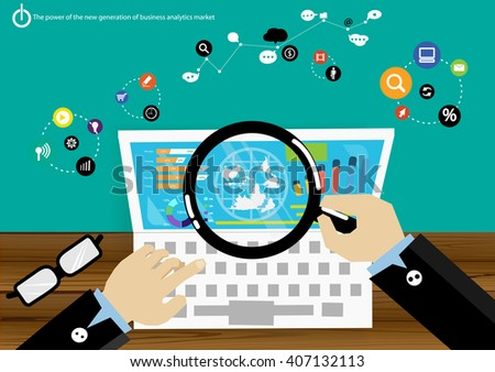 Vector power generation business analytics market data with advanced communications trade quickly comprising graph display icons flat design - stock vector