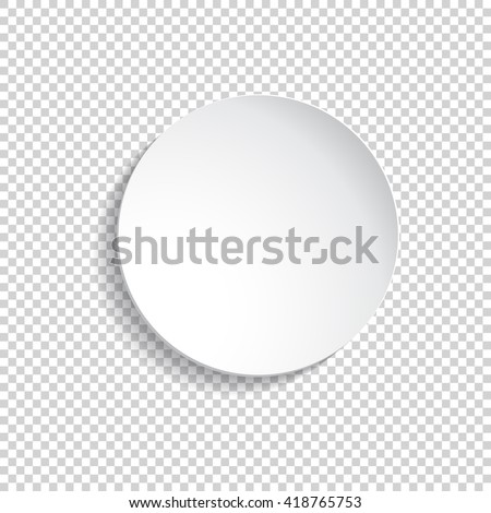 Vector round plate Illustration on transparent background. background for your design.Empty white paper  - stock vector