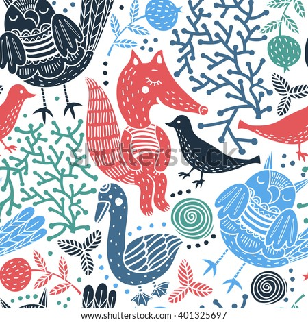 vector seamless pattern with colorful silhouette animals - stock vector