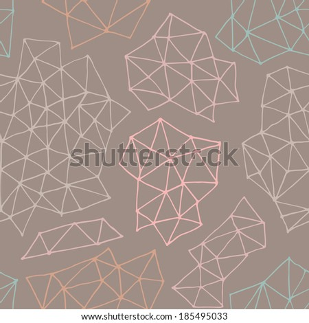 Vector seamless  pattern with outline geometrical shapes. Hand drawn texture comprises with triangles and dots. Beautiful geometric design for print,  wallpaper, web page background. Pastel texture. - stock vector