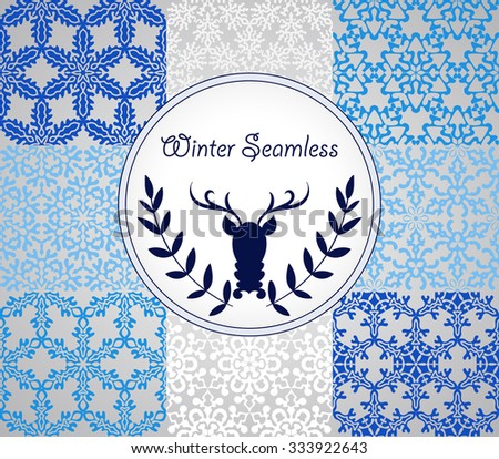 8 Vector Seamless Pattern with Snowflakes, fully editable eps 10 file with clipping masks and seamless pattern in swatch menu - stock vector