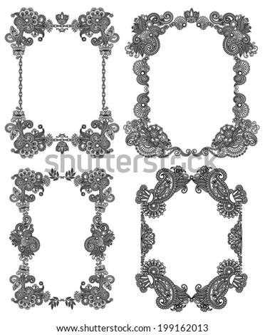 Vector set of calligraphic design vintage frame, black line art ornate flower design, page decoration, antique and baroque style - stock vector