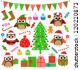 Vector set of Christmas party elements - stock vector