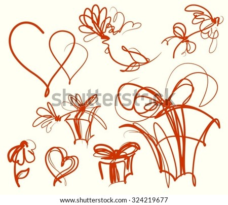 Vector set of images with flower patterns  - stock vector