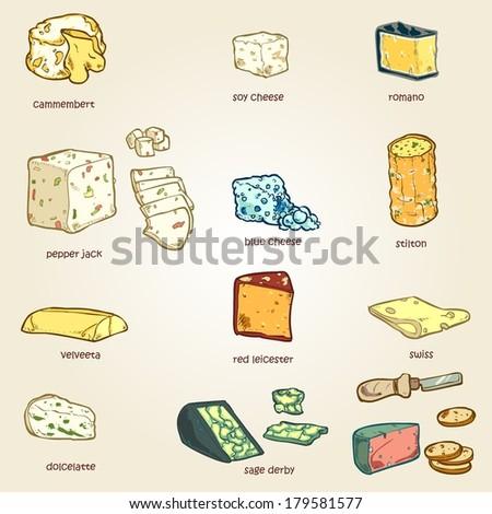 vector set of random cheese 03 - stock vector