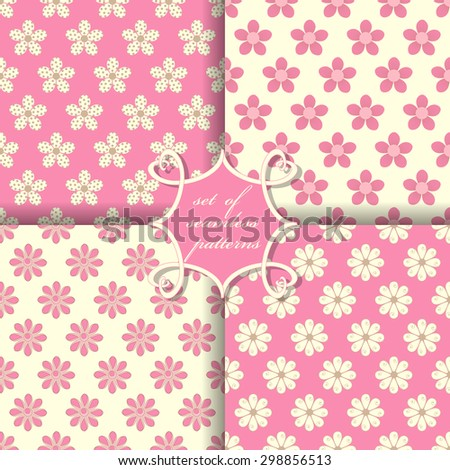 vector set of seamless floral patterns - stock vector
