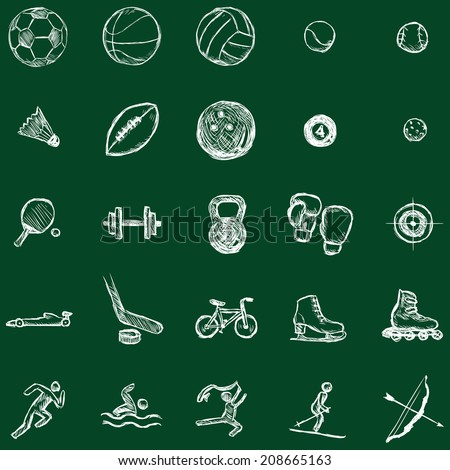 Vector Set of Sketch Sports Icons. Chalk on a Blackboard. - stock vector
