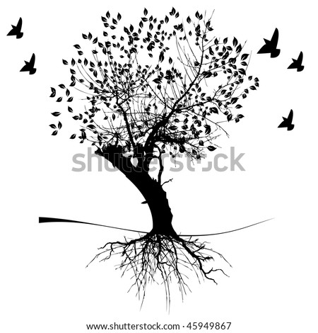 Vector silhouette graphic depicting a tree and roots - stock vector