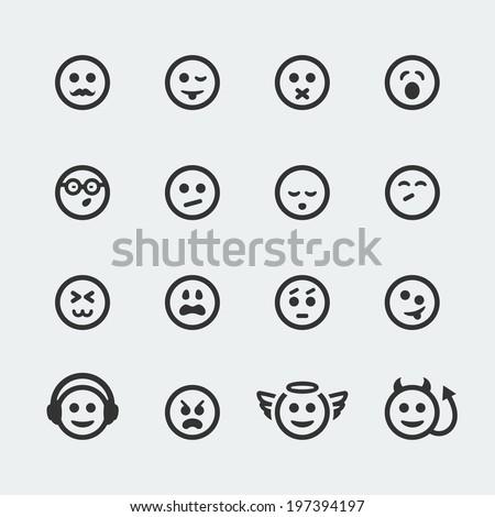 Vector smile mini icons set #2 - stock vector
