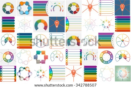 40 vector templates, Infographics cyclic processes, text area for six and seven  positions possible to use for work flow, banner, diagram, web design - stock vector