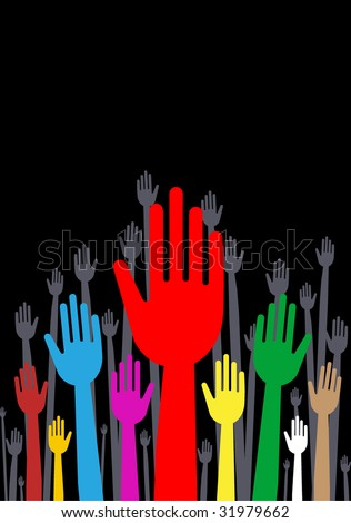 vector version of colorful hands with straight fingers copy space included - part 1 - stock vector