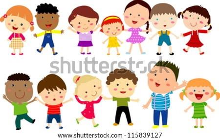 Vertical Group of Children - stock vector