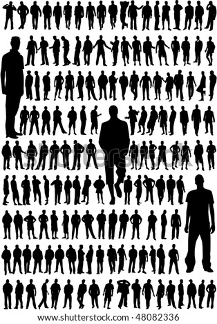 very large collection of the best profiles a male - stock vector