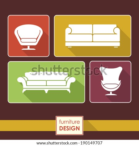 Vintage armchair and sofa icons set. Loft furniture concept - stock vector