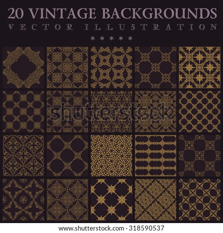 20 Vintage backgrounds. Seamless pattern ornament and decoration wallpaper design - stock vector
