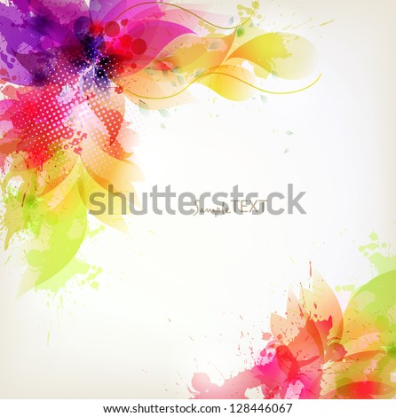 vintage Design template with floral design elements - stock vector