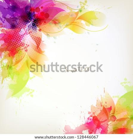 vintage Design template with floral design elements - stock vector