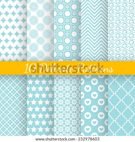 10 Vintage different vector seamless patterns. Endless texture for wallpaper, fill, web page background, surface texture. Set of monochrome geometric ornament. Blue and white shabby pastel colors. - stock vector