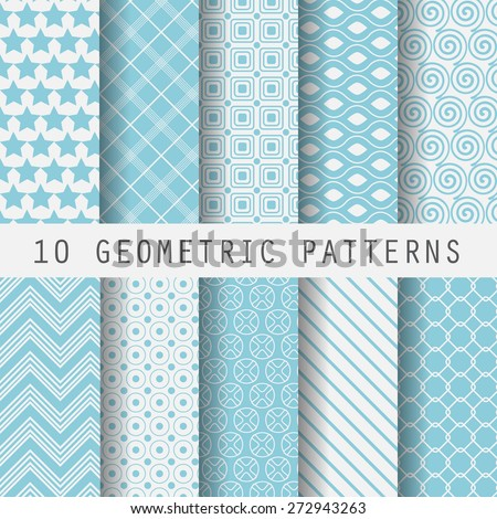 10 Vintage different vector seamless patterns. Endless texture for wallpaper, fill, web page background, surface texture. Set of monochrome geometric ornament. Blue and white shabby pastel  - stock vector