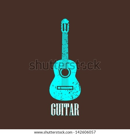 vintage illustration with guitar - stock vector